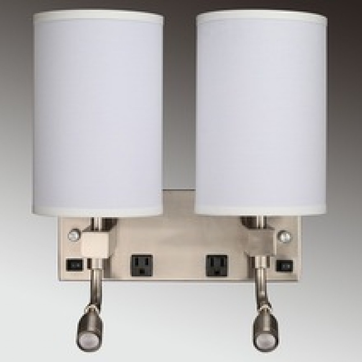Hotel Guest Room Wall Light Sconce Lamp Fabric And Burshed Nickle With Outlet Usb And Switch 511201815126