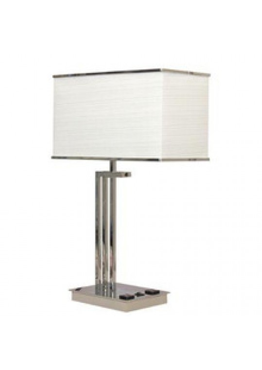 hotel table lamp in Brushed chrome Nickel metal and fabric shade new design with outlet USB and switch madie by china hotel lighting manufacturer coart item 1152018044ac
