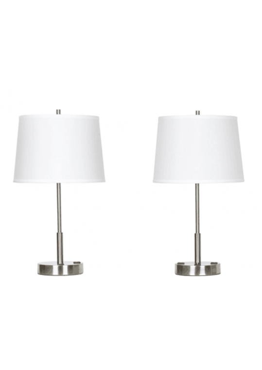 hotel table lamp in Brushed chrome Nickel metal and fabric shade new design with outlet USB and switch madie by china hotel lighting manufacturer coart item 115201804433