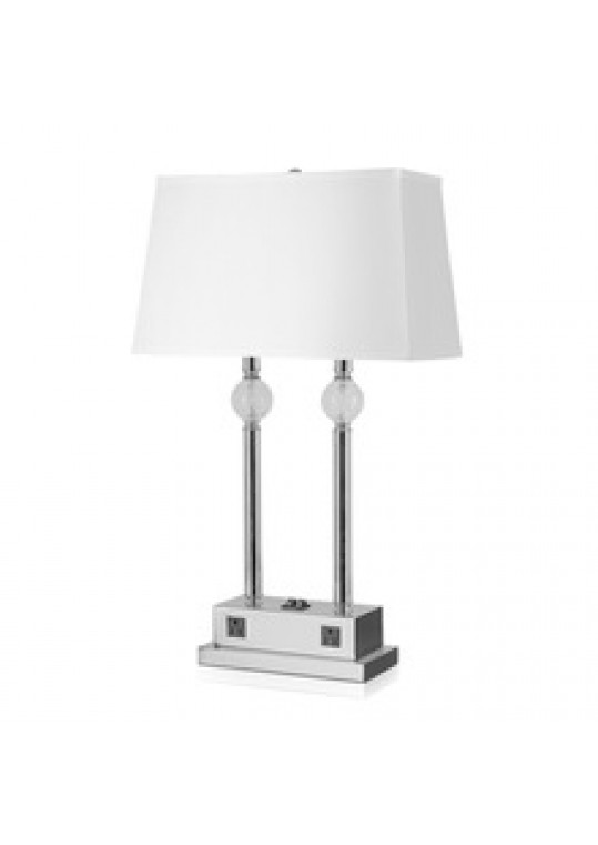 hotel table lamp in Brushed chrome Nickel metal and fabric shade new design with outlet USB and switch madie by china hotel lighting manufacturer coart item 1152018aa04437