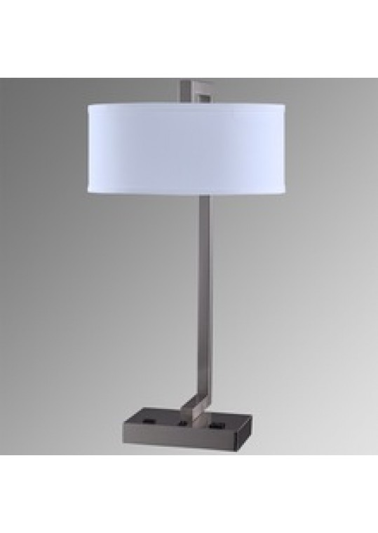 Hotel Table Lamp In Brushed Chrome Nickel Metal And Fabric Shade New