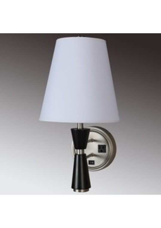 hotel guest room wall light sconce lamp fabric and burshed nickle with outlet usb WOOD and switch ITME 511201815127