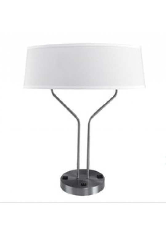 hotel table lamp in Brushed chrome Nickel metal and fabric shade new design with outlet USB and switch madie by china hotel lighting manufacturer coart item 1152018045