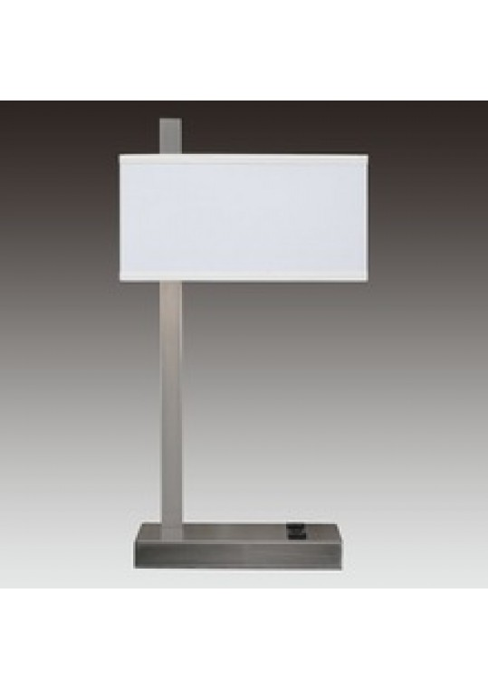 hotel table lamp in Brushed chrome Nickel metal and fabric shade new design with outlet USB and switch madie by china hotel lighting manufacturer coart item 1152018012
