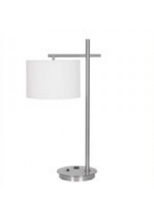 hotel table lamp in Brushed chrome Nickel metal and fabric shade new design with outlet USB and switch madie by china hotel lighting manufacturer coart item 1152018048