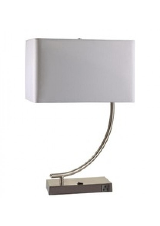 hotel table lamp in Brushed chrome Nickel metal and fabric shade new design with outlet USB and switch madie by china hotel lighting manufacturer coart item 1152018044
