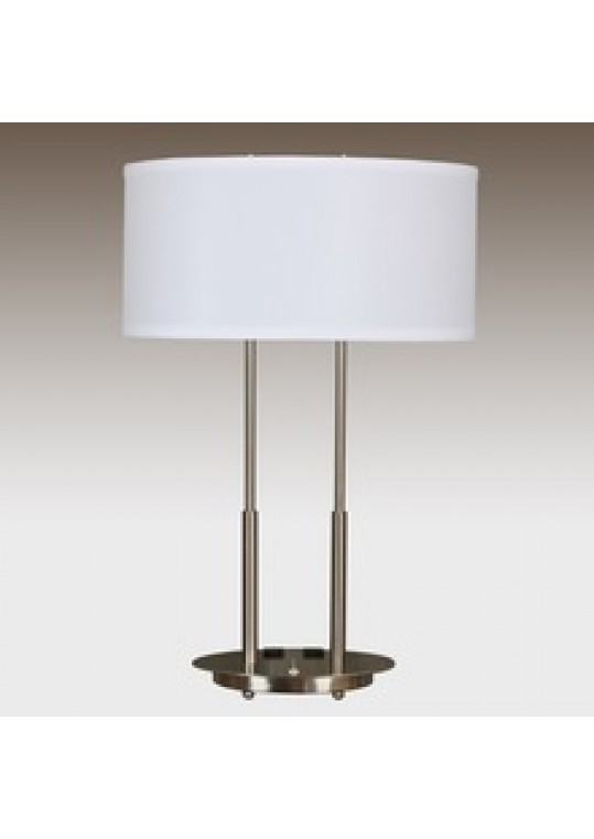 hotel table lamp in Brushed chrome Nickel metal and fabric shade new design with outlet USB and switch madie by china hotel lighting manufacturer coart item 115201804431