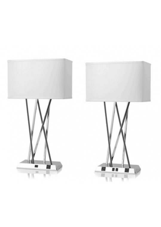 hotel table lamp in Brushed chrome Nickel metal and fabric shade new design with outlet USB and switch madie by china hotel lighting manufacturer coart item 1152018047