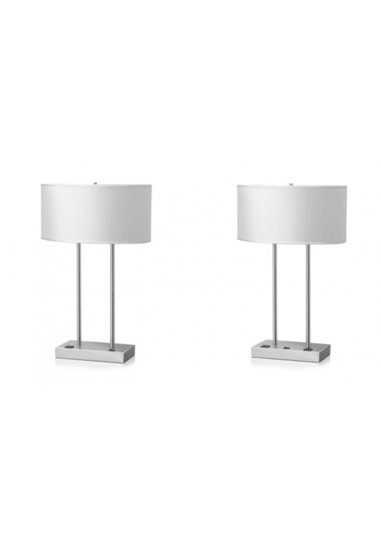 hotel table lamp in Brushed chrome Nickel metal and fabric shade new design with outlet USB and switch item 115201811
