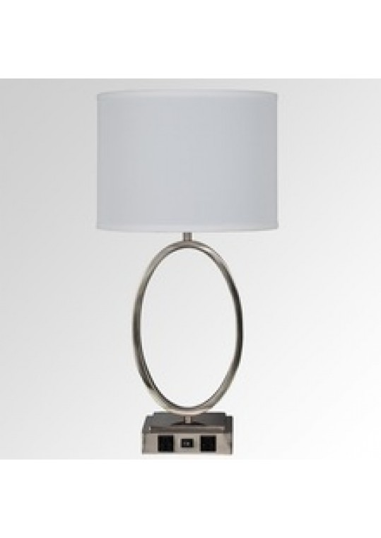 hotel table lamp in Brushed chrome Nickel metal and fabric shade new design with outlet USB and switch madie by china hotel lighting manufacturer coart item 1152018023