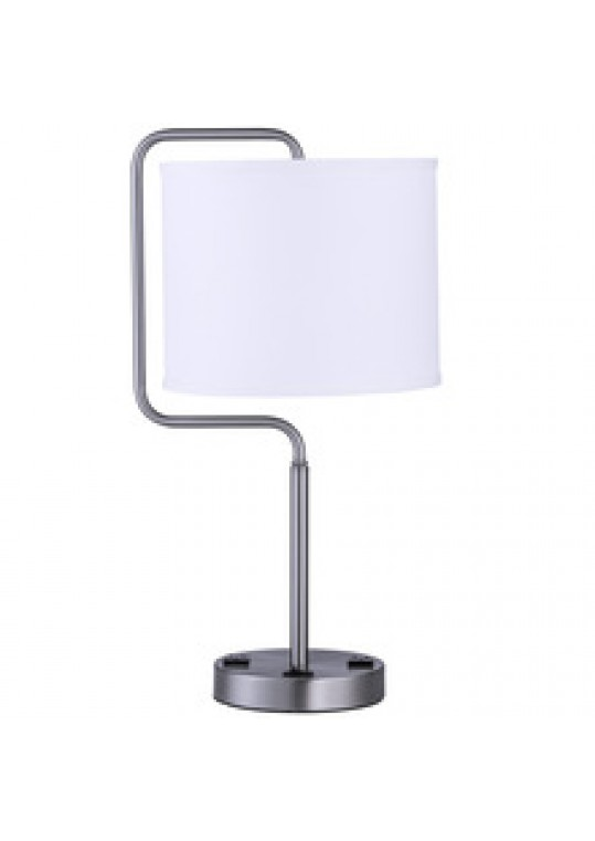 hotel table lamp in Brushed chrome Nickel metal and fabric shade new design with outlet USB and switch madie by china hotel lighting manufacturer coart item 1152018049