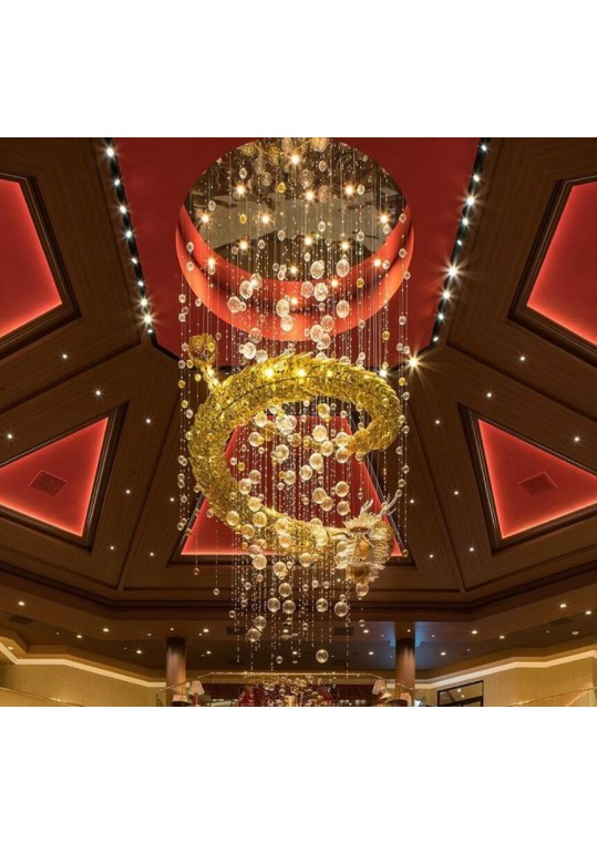 bespoke lighting made by glass and steel for casino