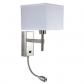 hotel wall light for bedside with outlets led groose brushed nickle fabric shade UL listed made in china